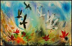 Autumn skies (tina negus) Tags: art mixedmedia birds crows gulls leaves aurumn sky