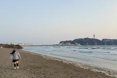 Girl & Enoshima (Gai) Tags:    kamakura kanagawa japan  sea  seaside  sky   blue  girl