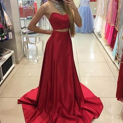 prom dress (maweiyu) Tags: fabulous two piece red prom dress halter sleeveless sweep train with beading
