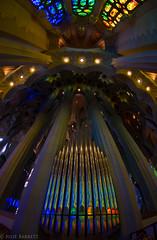 Rainbow Song (jcl8888) Tags: spain barcelona lafamiliasagrada rainbow organ music colorful travel sacred refelction fisheye wideangle cathedral gaudi art unfinished shiney naturallight