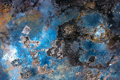 Splatter Art 138 (Jae at Wits End) Tags: textured abstract blue color rust texture corroded corrosion line lines metal oxidation oxidized patina pattern rustic rusty shape shapes wear weathered