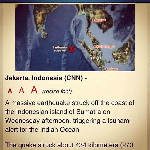 Earthquake in Indonesia. Tsunami warnings. Sindh on high alert. 8.2 aftershock at Sumatra northern coast.