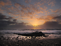 Sun rises on Blackhall Rocks. (paul downing) Tags: beach sunrise canon spring waves pdp blackhallrocks coastaluk pd1001 sx10is pauldowning