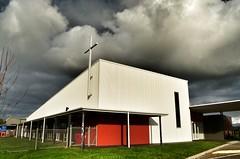 Warragul Uniting Church (phunnyfotos) Tags: sky bw church monochrome clouds blackwhite nikon skies cross australia monotone victoria vic gippsland warragul uniting unitingchurch unitingchurchinaustralia d5100 nikond5100 phunnyfotos