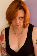Colors (FightGuy Photography) Tags: necklace clothing pale tattoos redhead shorthair freckles cleavage dmb abbi blackclothing