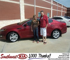 Southwest KIA of Rockwall would like to say Congratulations to David Levin on the 2013 Kia Optima (Southwest Kia Rockwall) Tags: new southwest car sedan truck wagon happy dallas texas tx used vehicles mesquite bday dfw kia van suv coupe rockwall dealership hatchback dealer customers minvan 4dr metroplex shouts 2dr preowned