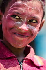 Holi festival, Kathmandu, Nepal (Andrew Taylor Photography) Tags: nepal boy portrait people colour festival cheeky celebration kathmandu subject colourful festivity holi happyholi colouredpowder playholi