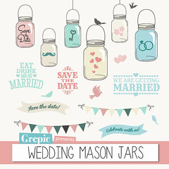 "Mason jars wedding clipart: ""WEDDING MASON JARS"" save the date clip art with mason jars, bunting banners, birds, hearts for cards & invites (workyourart) Tags: wedding art digital married mason save clip invitation card clipart getting date banners invite jars invitations bunting"