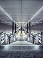 U-Bhf. Hauptbahnhof #I (Alexander Rentsch) Tags: city urban berlin lines architecture modern stairs germany underground subway concrete deutschland lights bright metro ubahnhof symmetry treppe hauptbahnhof staircase future ubahn scifi architektur pillars mitte beton lichter pfeiler zukunft symmetrie linien treppenstufen canoneos5dmarkiii canontse17mmf4l