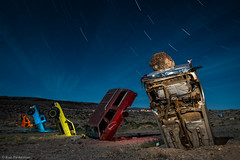 A Bumper Crop (dejavue.us) Tags: longexposure nightphotography lightpainting abandoned nikon desert nevada fullmoon nikkor startrails d800 goldfield 1835mmf3545d vle carforest