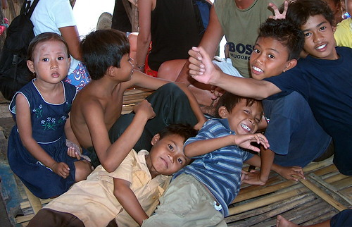 Indonesia - Children on  Ferryboat Lombok to Bali