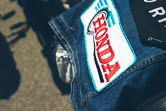 Patchwork (TerryJohnston) Tags: mi honda word logo dof bokeh michigan letters rally jacket mopeds font patch brand sl1 mopedarmy southhaven amazingmich mopedrally canoneosrebelsl1 rebelsl1 saluteyourports