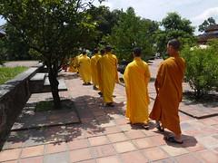 The march (ddmxxxx) Tags: travel orange yellow walking southeastasia quiet peace buddhist vietnam monks hue robes orderly thienmupagoda panasoniclumix lumixgf3