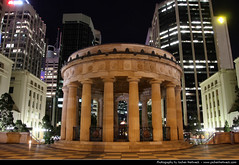 Shrine of Remembrance, Brisbane, Australia (JH_1982) Tags: city light urban reflection water skyline night river dark square evening noche memorial shrine cityscape darkness nacht australia brisbane flame qld queensland australien remembrance nuit notte riverwalk anzac  australie