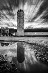 Silo Sunrise (Elliotphotos) Tags: columbus ohio cloud reflection clouds barn sunrise reflections puddle farm barns silo columbusohio farms silos sunrises elliot puddles ferme granja fermes gilfix elliotphotos elliotgilfix