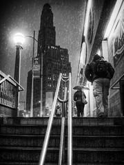 Brooklyn (dubdream) Tags: street city newyorkcity winter people blackandwhite bw usa white house newyork black rain brooklyn night stairs subway nightshot railing williamsburghsavingsbanktower blancoynecro dubdream olympusem1 atlanticavenue–barclayscenter
