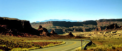 Driving Down to Monument Valley (alsimages1 - Thank you for 860.000 PAGE VIEWS) Tags: panorama mountains landscape drive plateau scenic falls valley rivers views peaks plains grassland scrub grandeur