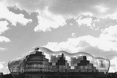 The Sage (Daniel David Clements) Tags: sky blackandwhite glass architecture clouds contrast framing