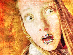 A Look of Surprise (Geoffrey Coelho Photography) Tags: texture yellow female youth gold golden child startled background candid sprinkles surprise shock textured shocked iphone selfie startling candyportrait surprisedgirl