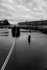 Moored (Stuart.67) Tags: harbour boat mono blackwhite sea cobb nikon d800 dorset