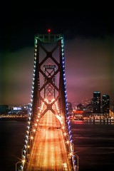 A Night on a Bridge (Thomas Hawk) Tags: baybridge california sanfrancisco treasureisland usa unitedstates unitedstatesofamerica yerbabuenaisland bridge fav10 fav25 fav50 fav100