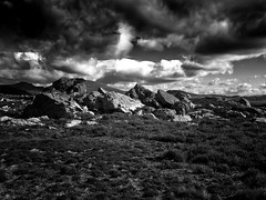 Horizons (2) (Missy Jussy) Tags: horizon sky clouds rocks hills fields countryside rural landscape land light moodylandscape atmosphere walkinglandscape canon blackwhite blackandwhite bw mono monochrome