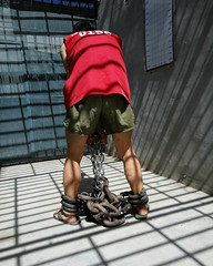 The most serious punishment is 3 sets of heavy shackles bolted, prisoner can hardly move (asiancuffs) Tags: handcuffs handcuffed shackled shackles inmate prisoner arrest arrested