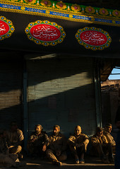Iranian shiite muslim men with mud stains during the ashura day, Lorestan province, Khorramabad, Iran (Eric Lafforgue) Tags: 9people adultsonly ashura banner celebration ceremony colorimage commemoration culture festival groupofpeople hussain imamhussein iran islam kharrahmali khorramabad memorialevent menonly middleeast mourning mud mudrubbing muharram muslims outdoors people persia persian religion religious ritual script shia shiism shiite tradition traditional vertical lorestanprovince