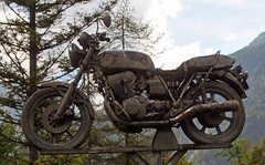The bike (Vee living life to the full) Tags: italy leger travel touring holiday nikond300 heathaze view road sky cloud blue motorbike cleverparking post parked offroad oldbike museumpiece war relic zugspilzblick austria bike enthusiasts old worn out