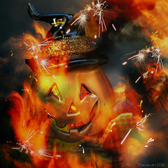 Roasted pumpkin (Lemon~art) Tags: halloween pumpkin fire flames manipulation