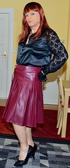 Birgit023357 (Birgit Bach) Tags: pleatedskirt faltenrock leather leder satin blouse bluse