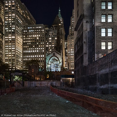 Trinity Place (DSC04794) (Michael.Lee.Pics.NYC) Tags: newyork trinitychurch constructionsite greenwichstreet trinityplace wallstreet lowermanhattan night architecture cityscape sony a7rm2 zeissloxia21mmf28