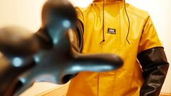 Indoor Explorer (essex_mud_explorer) Tags: gloves gauntlets rubber marigoldemperor me107 hellyhansen nusfjord yellow ochre rainwear raincoat rainjacket