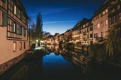 Blue Hour in Strasbourg (noberson) Tags: strasbourg longexposure lonexpo blue hour city cityscape landscape night house architecture reflection lights light river calm nikon tamron d750