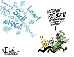 1116 tweetwar cartoon (DSL art and photos) Tags: editorialcartoon donlee donaldtrump twitter hamiltonthemusical mikepence apology thinskin