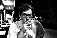 Clay (hearn_josh) Tags: shanghai smoke cigarette portrait face people eyes black white retro effect monochrome china night