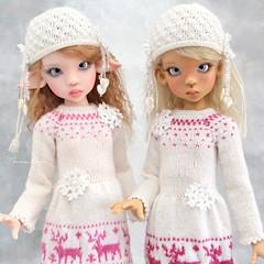 Happy Winter! 💖 (Maram Banu) Tags: doll bjd kayewiggs laryssa layla winter deer snowflake handmade outfit knit crochet white pink fairystyle