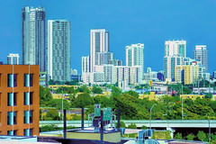 View of the skyline of Midtown Miami, Florida, USA / The Magic City (Jorge Marco Molina) Tags: miami florida usa cityscape city urban downtown density skyline skyscraper building highrise architecture centralbusinessdistrict miamidadecounty southflorida biscaynebay cosmopolitan metropolis metropolitan metro commercialproperty sunshinestate realestate tallbuilding midtownmiami