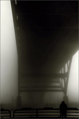 Fishing in the Morning Fog (willkommen) Tags: morning fog wisconsin fishing nikon day lakemichigan milwaukee hdr d90 hoanbridge