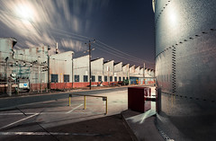 Kelvinator (Wayne Grivell) Tags: red sky moon clouds industrial factory tank warehouse adelaide kelvinator swrf atholpark swrshow