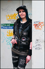 Cool punk (csh 22) Tags: pierced girl 50mm punk grafitti glasgow punkrock tattooed nikond90 glasgowstreetphotography glasgowstreetportrait