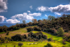 landscape in achaia (dtsortanidis) Tags: blue trees sky white mountain green beautiful field grass yellow clouds photoshop canon lens landscape photography spring interesting europe day image cloudy mark greece filter ii l 5d usm f18 18 hdr mk dimitris patra 200mm dimitrios photomatix achaia tsortanidis dtsortanidis