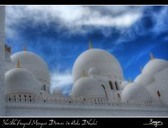 Sheikh Zayed Mosque Domes (SVA1969) Tags: blue cloud white blanco azul gold golden mosque emirates abudhabi nubes mezquita abu dhabi effect hdr orton dorado emiratos sheikhzayedmosque flickrsfinestimages1 flickrsfinestimages2