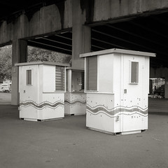Ticket Booths, Portland (austin granger) Tags: carnival film square empty fair line freeway booths end finished done wavy mamiyac330 ticketbooths austingranger