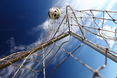 Football (Roman | Photography) Tags: blue sky cloud sun playing net ball football goal day soccer sunny score