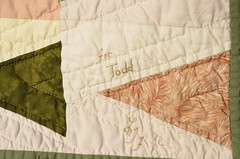 """Leave a Trail"" Quilt label (Sewfrench) Tags: leave festival modern spring triangle colorful quilt traditional trail bloggers scrap kona trailmarker handquilted 2013 leaveatrail"