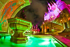 Cinderella and her Castle (e.mcclay) Tags: longexposure pink castle water fountain canon florida cinderella wdw waltdisneyworld magickingdom fantasyland cinderellacastle disneyphotography