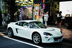 Lotus Europa in Tokyo (lukemarkof) Tags: road city blue light shadow black building green art heritage classic japan canon buildings dark fun japanese grey tokyo design asia europa exposure play power view purple respect lotus steel culture style funky special exotic depth interest supercar built challenging 2013 60d