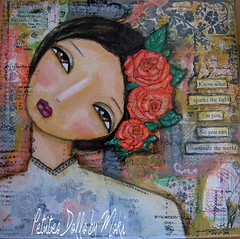 the light in you (moki70) Tags: flowers red roses white doll sweet wallart inspirational tender artprint mixedmediaart mixedmediapainting petitesdollsbymoki