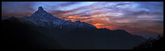 sunrise in the mardi himal (doug k of sky) Tags: nepal panorama trek landscape doug panoramic himalaya mardi fishtail himal machhapuchare machapuchare machhapuchre mountainscapes kofsky